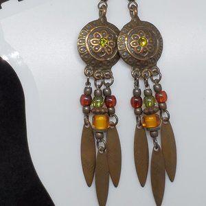 Bronze Tone Drop Dangle Hook Earrings Native Theme